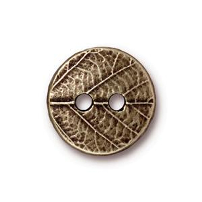 TierraCast Button - Round Leaf, Antique Brass (B-080)