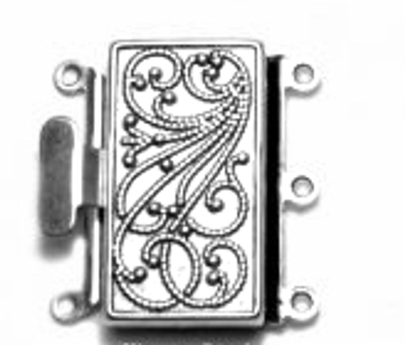 3 Strand Silver Plated Box Clasp (C183)