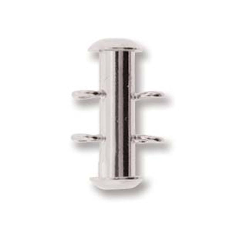 2 Strand Silver Plated Slide Clasp with Vertical Loops (C129)