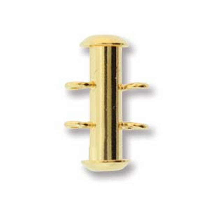 2 Strand Gold Plated Slide Clasp with Vertical Loops (C131)