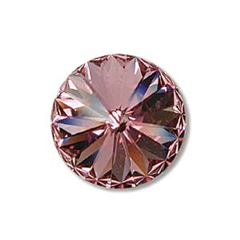 12mm Swarovski Rivoli, Light Rose (Qty: 1)