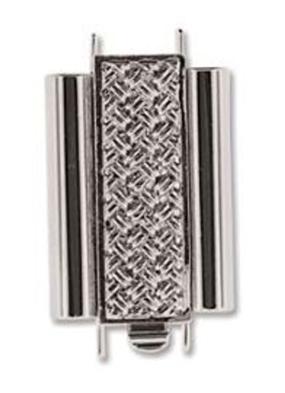 Elegant Elements BeadSlide Clasp, Cross Hatch, Rhodium, 18mm