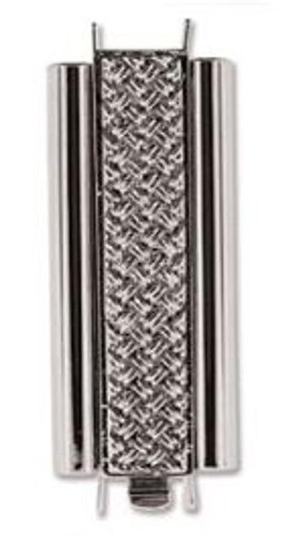 Elegant Elements BeadSlide Clasp, Cross Hatch, Rhodium, 29mm