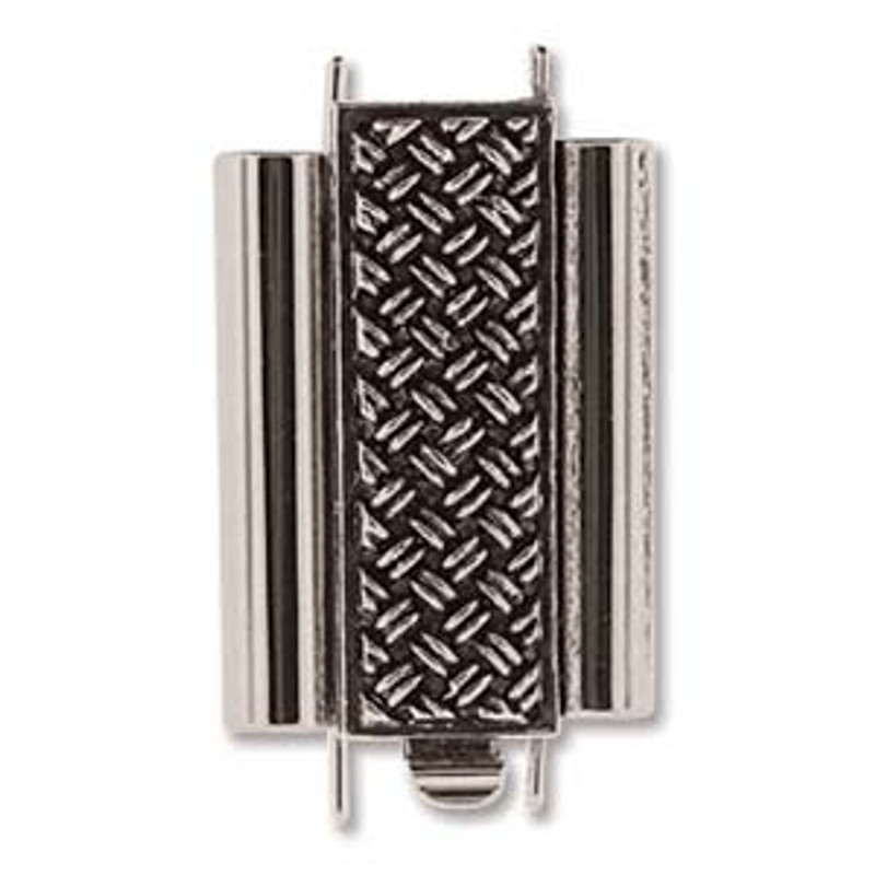 Elegant Elements BeadSlide Clasp, Cross Hatch, Antique Silver, 18mm