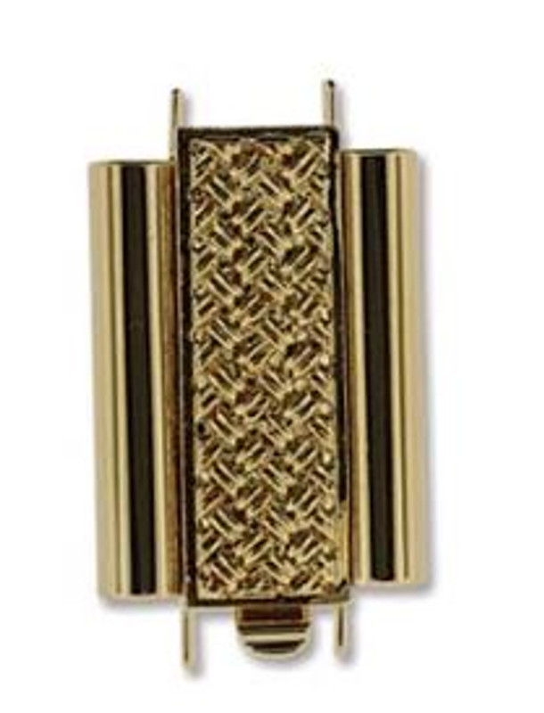 Elegant Elements BeadSlide Clasp, Cross Hatch, Gold Plate, 18mm