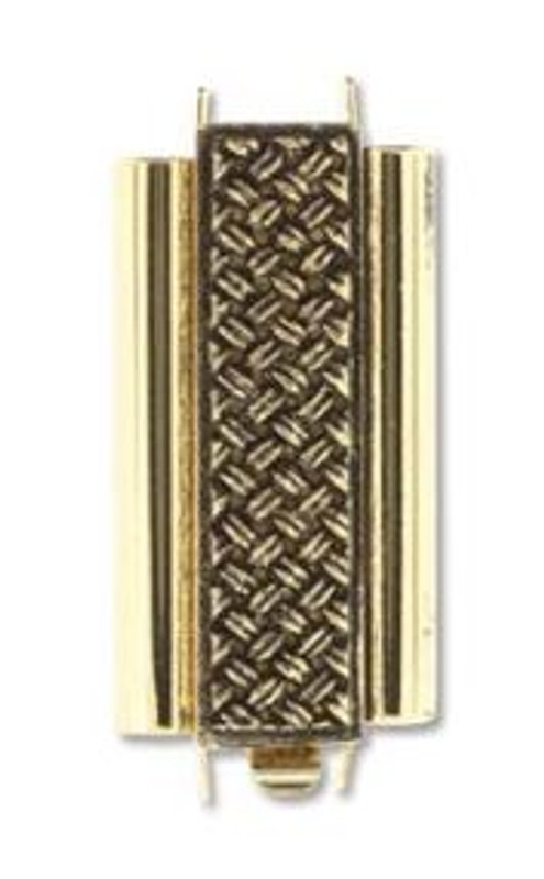 Elegant Elements BeadSlide Clasp, Cross Hatch, Antique Gold, 24mm