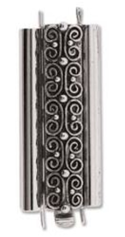 Elegant Elements BeadSlide Clasp, Squiggle, Antique Silver, 29mm