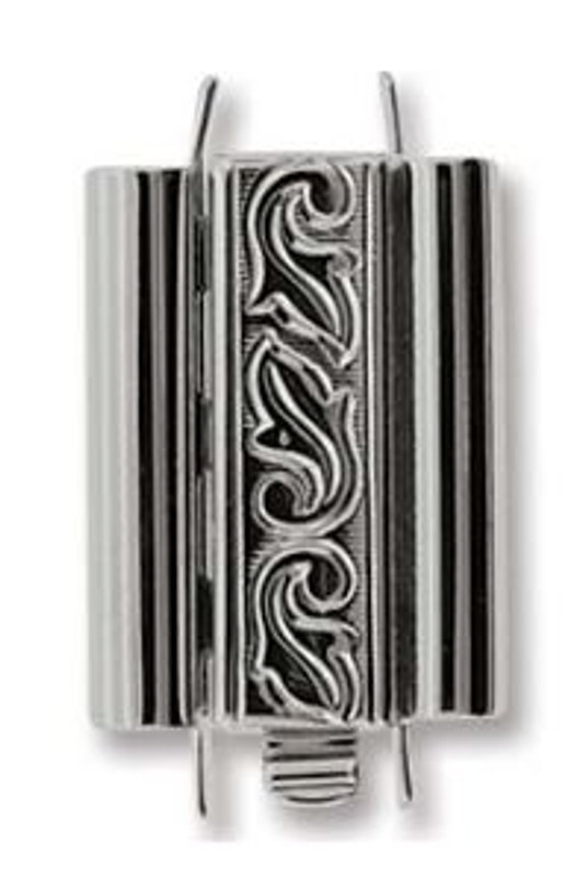 Elegant Elements BeadSlide Clasp, Swirl, Rhodium, 18mm