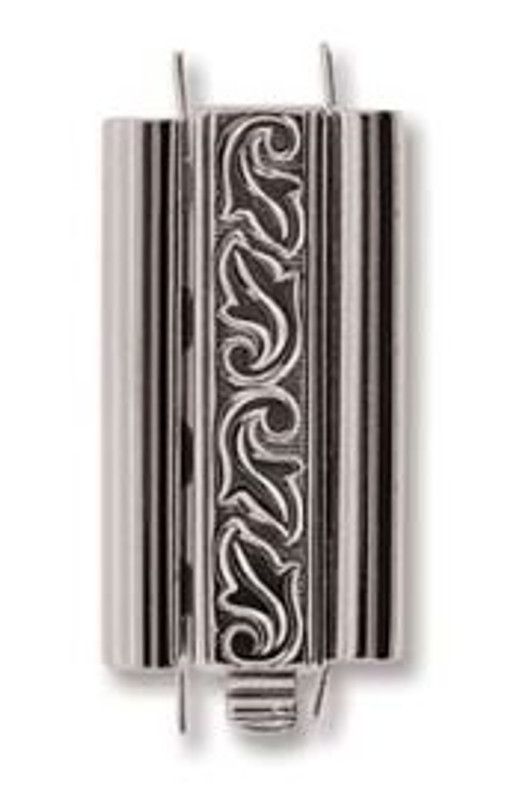 Elegant Elements BeadSlide Clasp, Swirl, Rhodium, 24mm