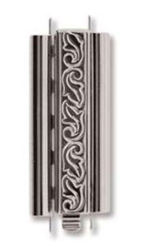 Elegant Elements BeadSlide Clasp, Swirl, Rhodium, 29mm