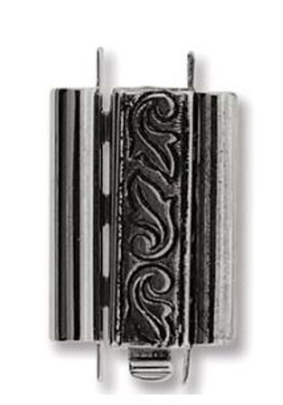 Elegant Elements BeadSlide Clasp, Swirl, Antique Silver, 18mm