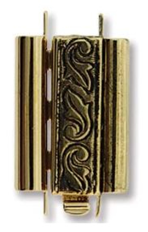 Elegant Elements BeadSlide Clasp, Swirl, Antique Gold, 18mm