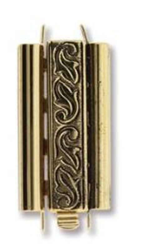 Elegant Elements BeadSlide Clasp, Swirl, Antique Gold, 24mm