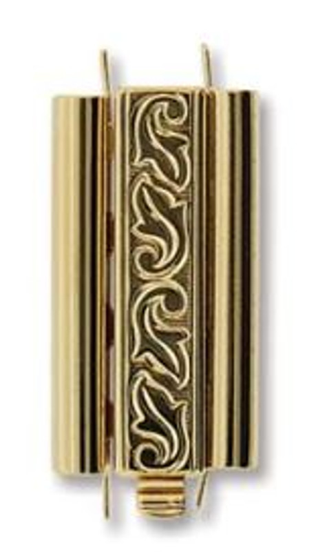 Elegant Elements BeadSlide Clasp, Swirl, Gold Plated, 24mm