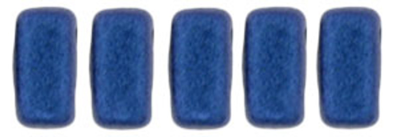 CzechMates 2-Hole Brick Beads, Blue Metallic Suede (Qty: 25)