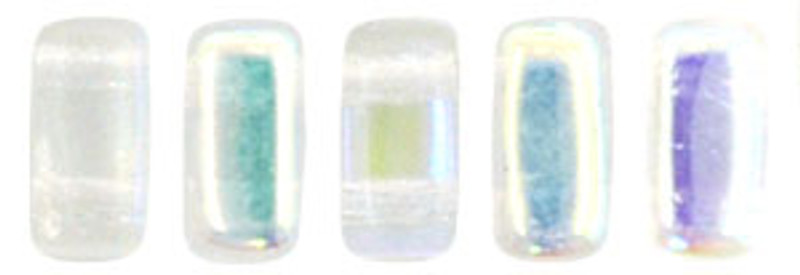 CzechMates 2-Hole Brick Beads, Crystal AB (Qty: 25)