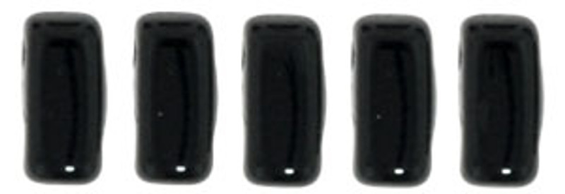 CzechMates 2-Hole Brick Beads, Jet (Qty: 25)
