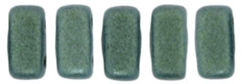 CzechMates 2-Hole Brick Beads, Light Green Metallic Suede (Qty: 25)