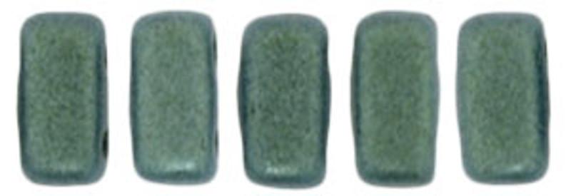 CzechMates 2-Hole Brick Beads, Light Green Metallic Suede (10 gr.)