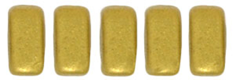CzechMates 2-Hole Brick Beads, Matte Metallic Aztec Gold  (Qty: 25)