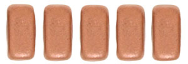 CzechMates 2-Hole Brick Beads, Matte Metallic Copper (Qty: 25)