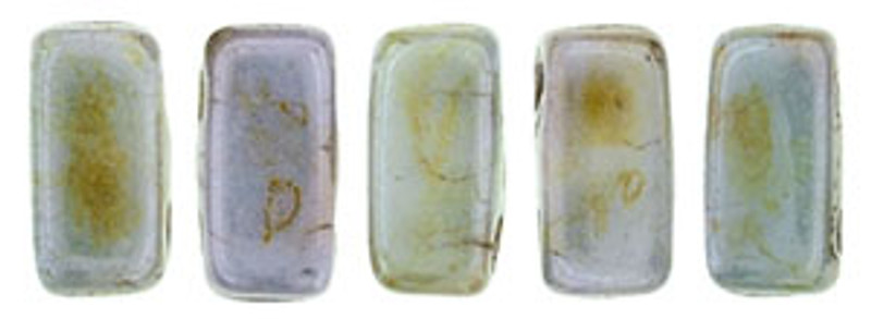 CzechMates 2-Hole Brick Beads, Opaque Green Luster (Qty: 25)