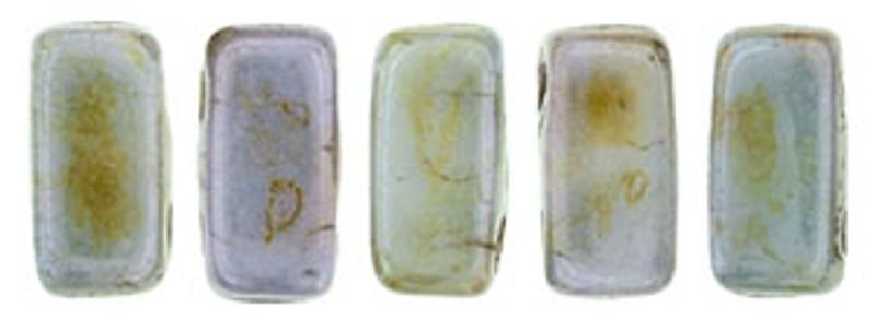 CzechMates 2-Hole Brick Beads, Opaque Green Luster (10 gr.)