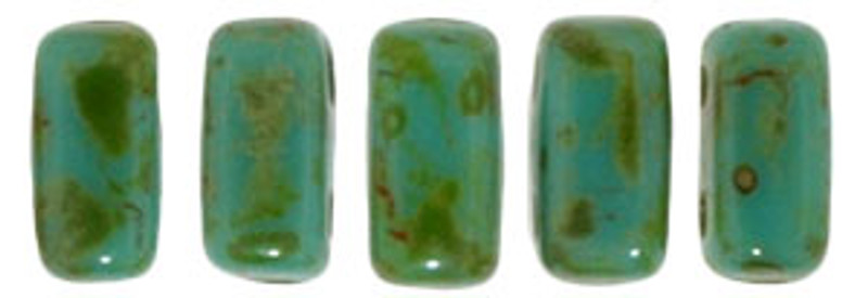 CzechMates 2-Hole Brick Beads, Persian Turquoise Picasso (10 gr.)