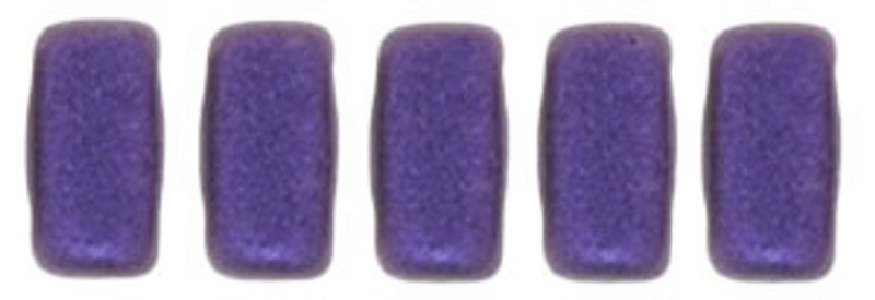 CzechMates 2-Hole Brick Beads, Purple Metallic Suede (Qty: 25)