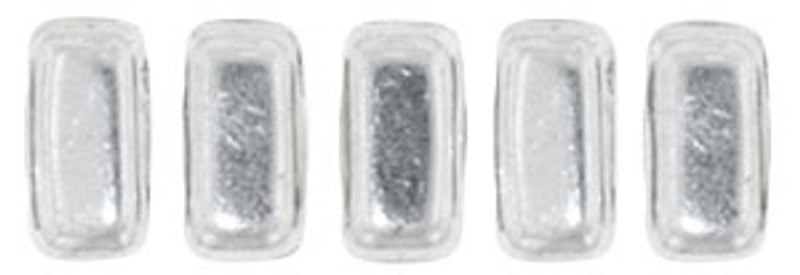CzechMates 2-Hole Brick Beads, Silver (Qty: 25)