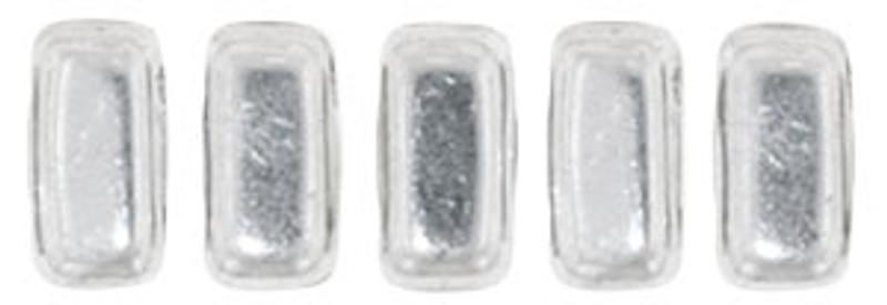 CzechMates 2-Hole Brick Beads, Silver (10 gr.)