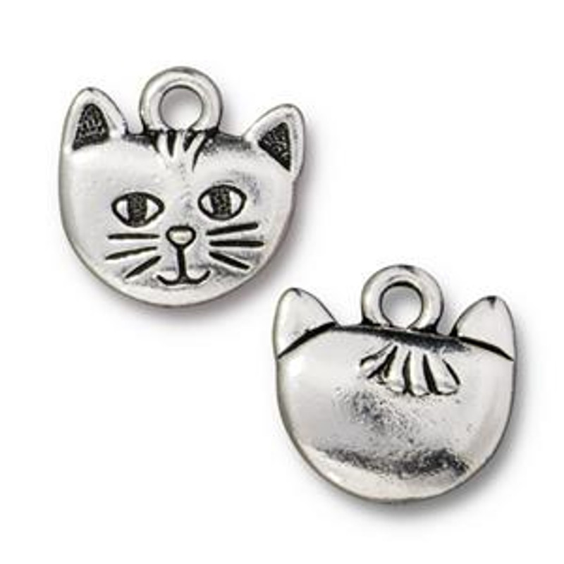 Cat Head Charm, Silver Plated Pewter