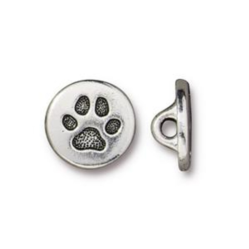 Paw Print Button, Silver Plated Pewter (12mm) (B-084)