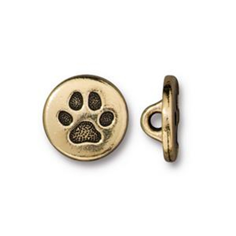 Paw Print Button, Gold Plated Pewter (12mm)(B-085)
