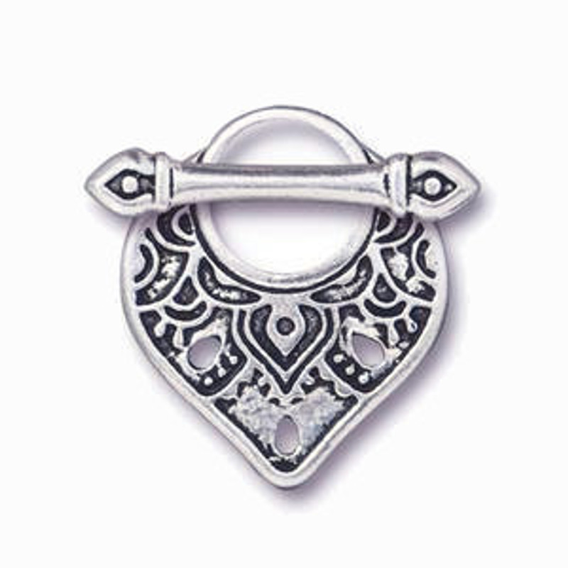 Teardrop-Shaped Toggle Clasp, Silver Plated, 18x22mm (C41)