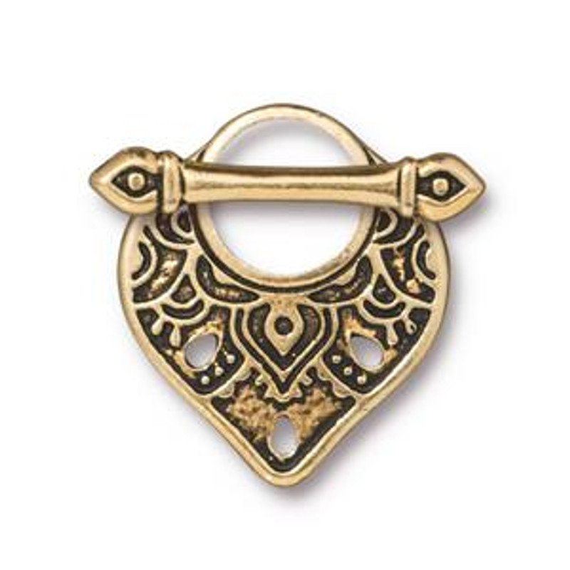 Teardrop-Shaped Toggle Clasp, Gold Plated, 18x22mm (C44)