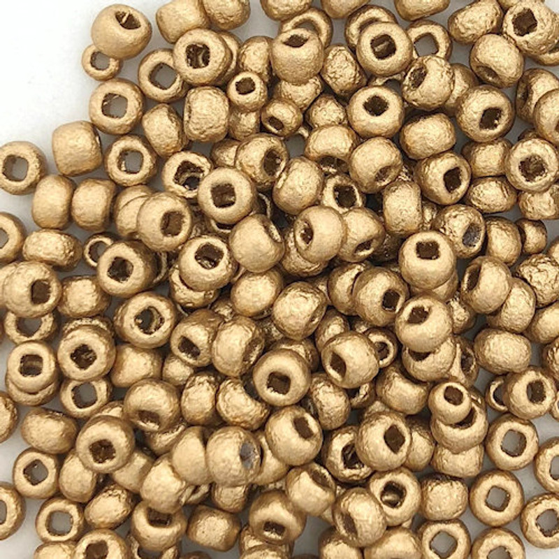 6-Etched Aztec Gold Czech Seed Beads (26 gr.)