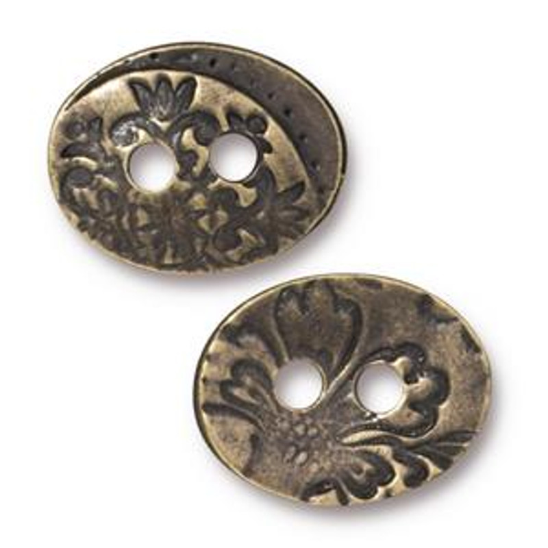 TierraCast Button - Garden, 2-hole, Brass Toned (Qty: 1) (B-025)