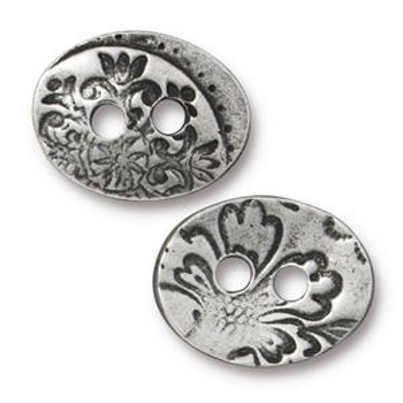 TierraCast Button - Garden, 2-hole, Antiqued Pewter (Qty: 1) (B-026)