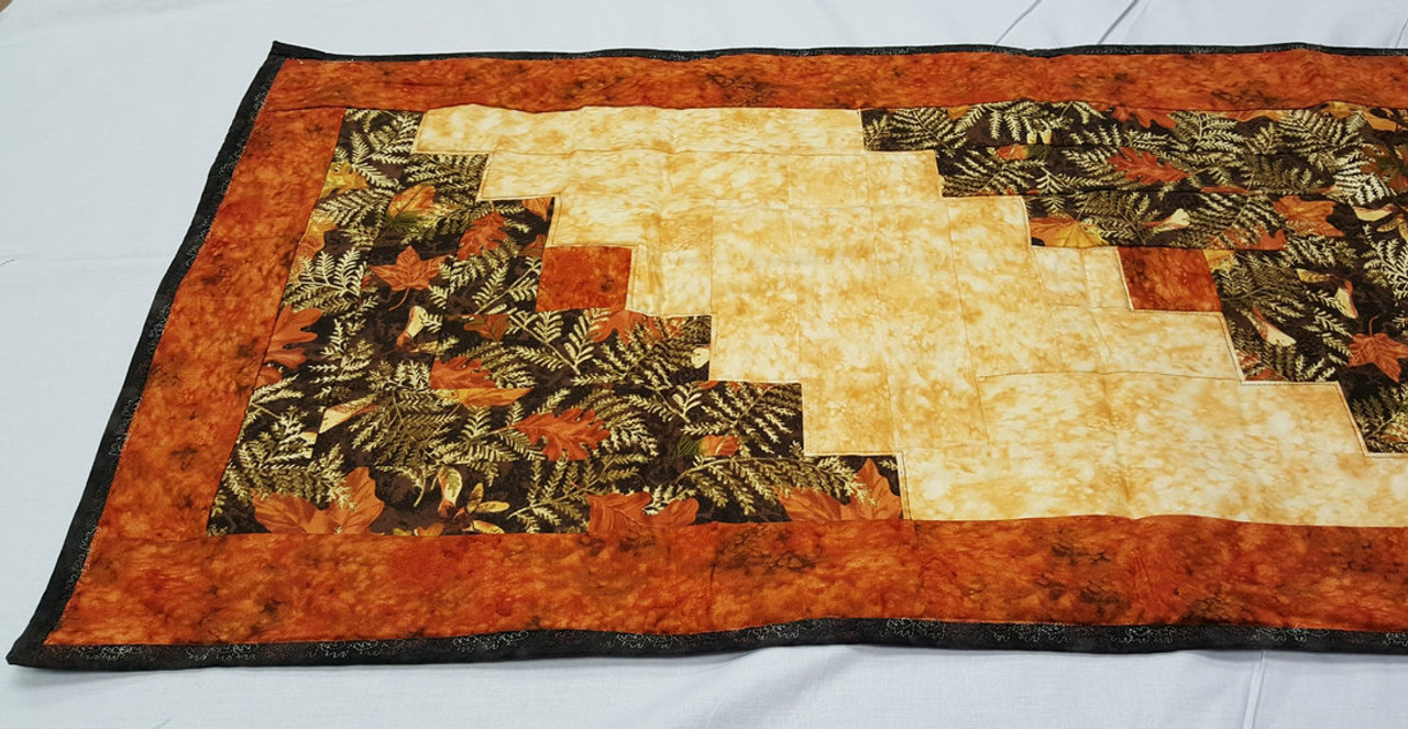 Fall Table Runner Traditional Log Cabin Design
