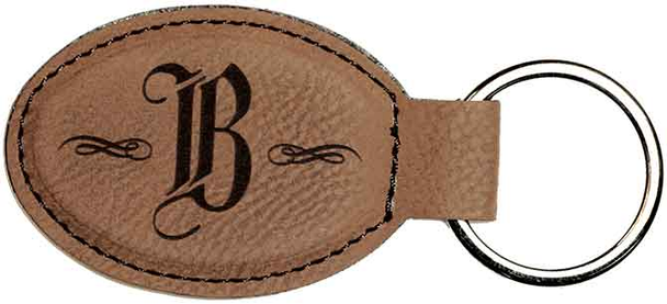Brown Leatherette Keychain with Custom Laser Engraving