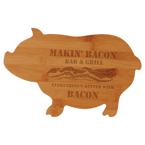 """Engraved Bamboo Pig Shaped Cutting Board 13.5"""" x 8.75"""""""