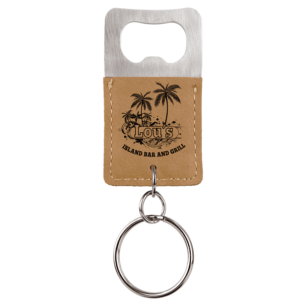 Light Brown Bottle Opener Keychain with Custom Laser Engraving