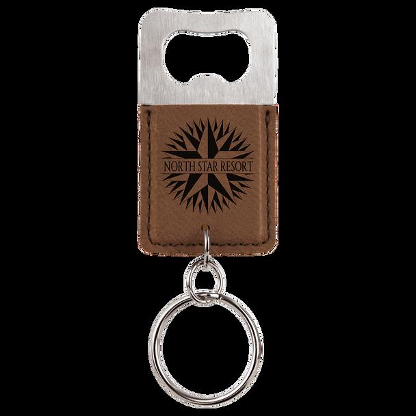 Dark Brown Bottle Opener Keychain with Custom Laser Engraving