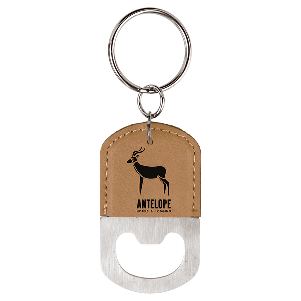 Light Brown Oval Bottle Opener Keychain with Custom Laser Engraving