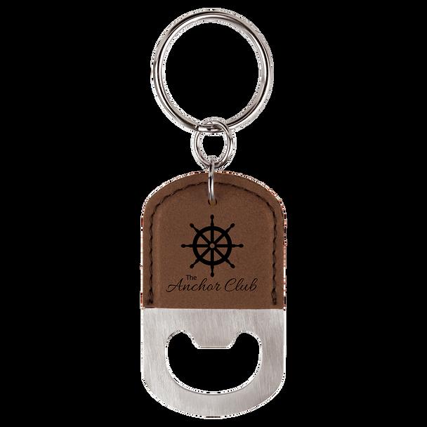 Dark Brown Oval Bottle Opener Keychain with Custom Laser Engraving