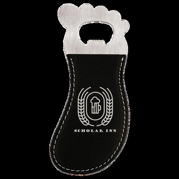 Black/Silver Magnetic Foot Bottle Opener with Custom Laser Engraving