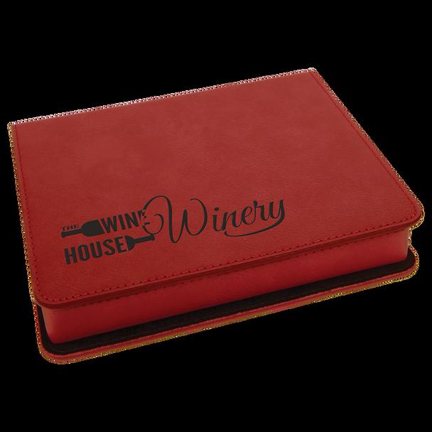 Engraved Rose Leatherette 4-Piece Wine Tool Set