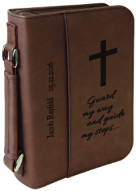Dark Brown Leatherette Book Cover w/ Zipper with Custom Laser Engraving