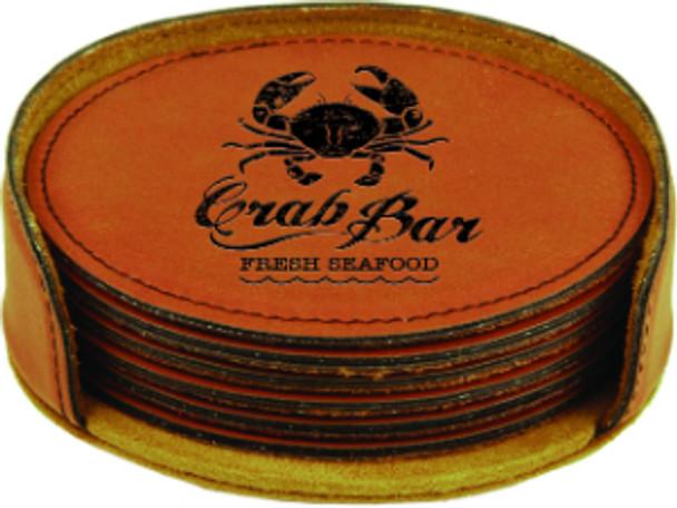 Rawhide Leatherette Coaster Set with Custom Laser Engraving